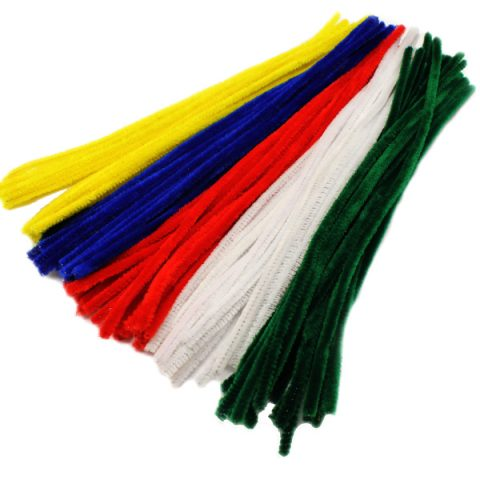 Long chenille pipe cleaner stems