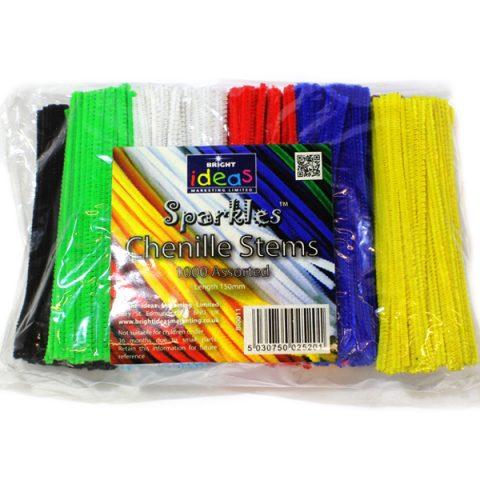 BI0011 Chenille Stems 150mm Assorted Colours