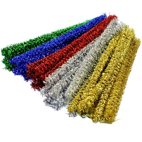 Curly Metallic Pipe Cleaner Craft Stems PK50