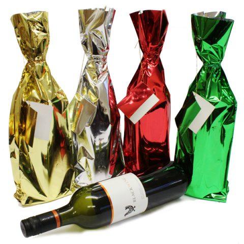 BI2223 Metallic Bottle Bags PK4 Assorted