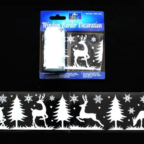 BI2713 Festive Window Border Decoration Reindeer