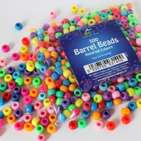 BI7968 Barrel Beads pk500 Assorted Colours