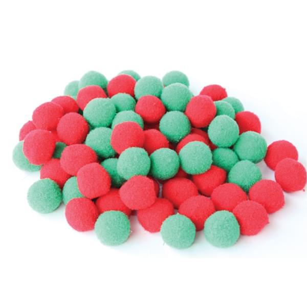BI8028 Christmas Red and Green Pom Poms pk80