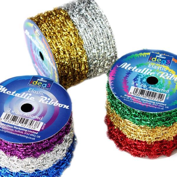 Christmas Elastic Metallic Ribbon