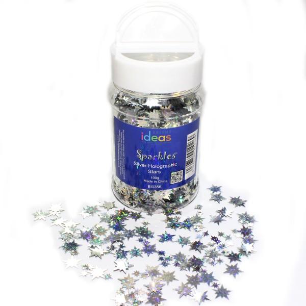 Silver Holographic Stars Confetti Shaker Jar
