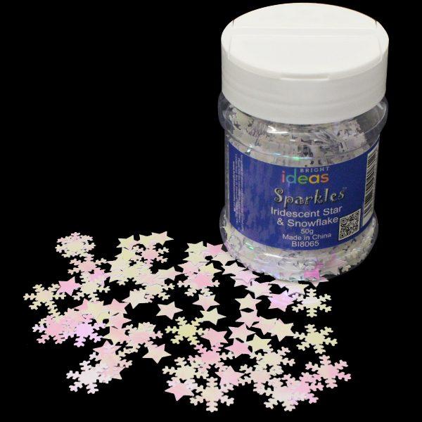 BI8065 Iridescent Star Snowflakes 50g