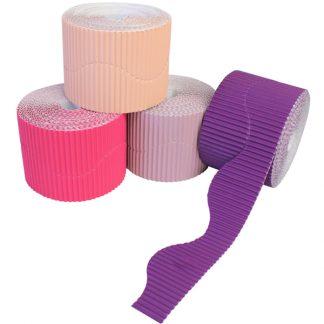 BI7869 Purple and Pink Corrugated Border Rolls Wavy PK04