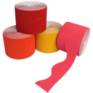 BI7870 Red and Orange Corrugated Border Rolls PK04 Wavy
